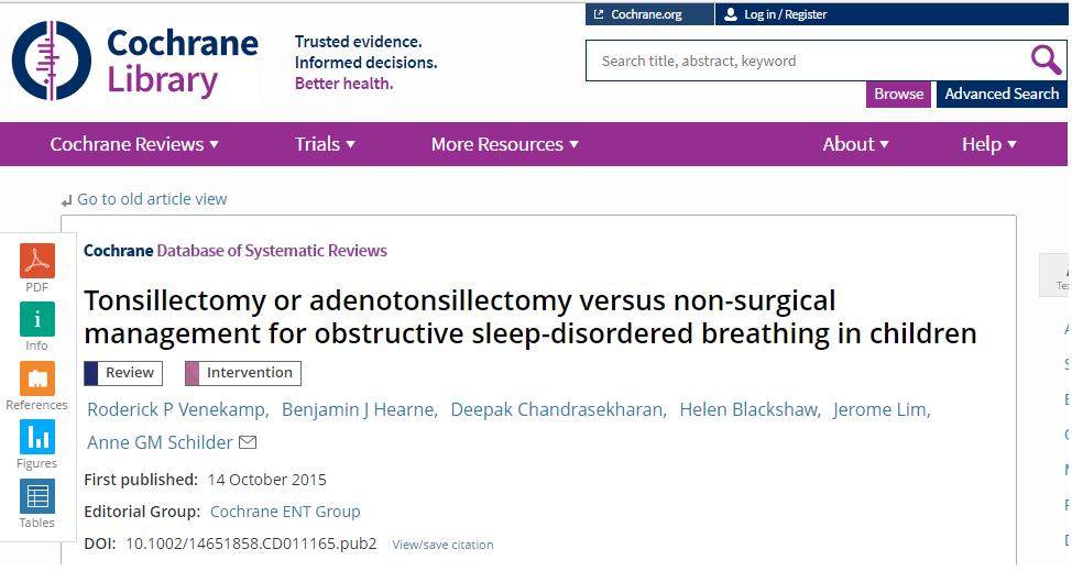 Tonsilectomia ou adenotonsilectomia versus tratamento não-cirúrgico da respiração obstrutiva do sono em crianças