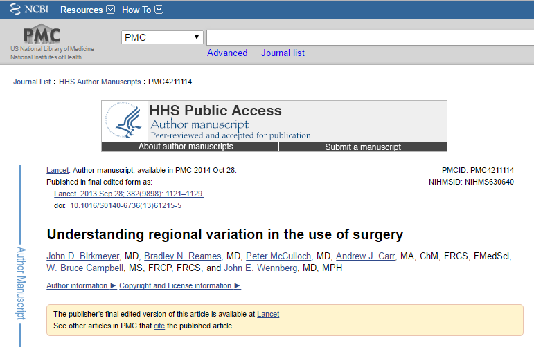 """Artigo Publicado pelo Dr. John Wennberg no Lancet em outubro de 2014 - """"Compreendendo a variação regional no uso da cirurgia""""."""