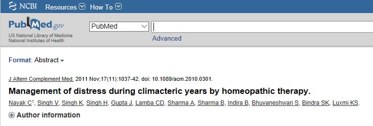Nayak C e colaboradores, 2011: A terapia homeopática foi considerada útil no alívio dos sintomas menopausais